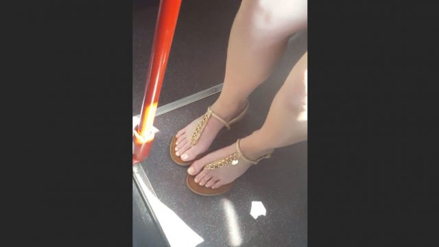 pretty feet on a bus